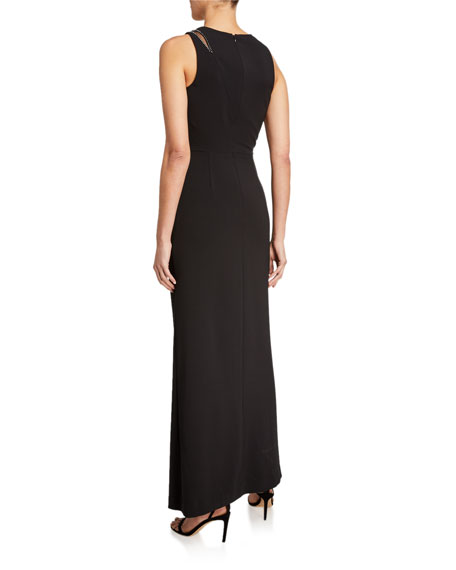 Parker Black Ella Sleeveless Stretch Crepe Gown w/ Crystal Trim