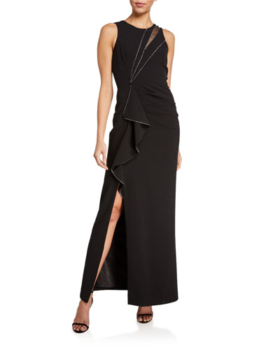 Ella Sleeveless Stretch Crepe Gown w/ Crystal Trim