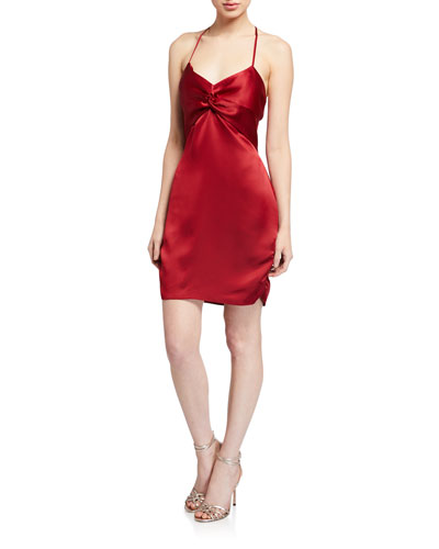 Anastasia Satin Halter Slip Dress w/ Twisted Bodice