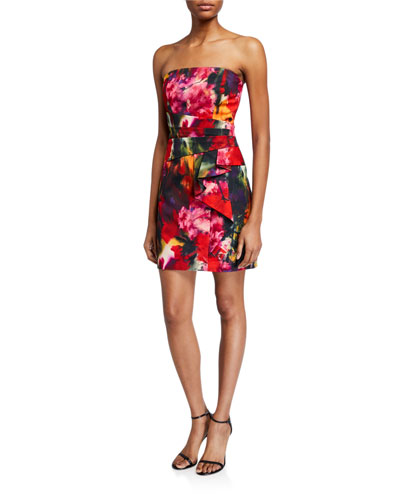 Jacqueline Strapless Printed Cocktail Dress