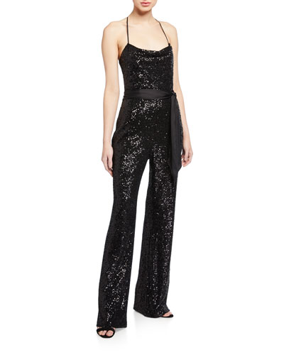 Kallie Sequin Cowl-Neck Jumpsuit w/ Satin Belt
