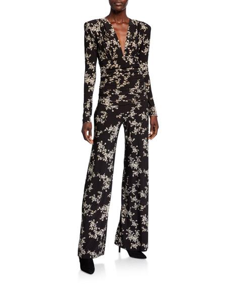 Norma Kamali Printed V-Neck Long-Sleeve Shirred-Waist Jumpsuit