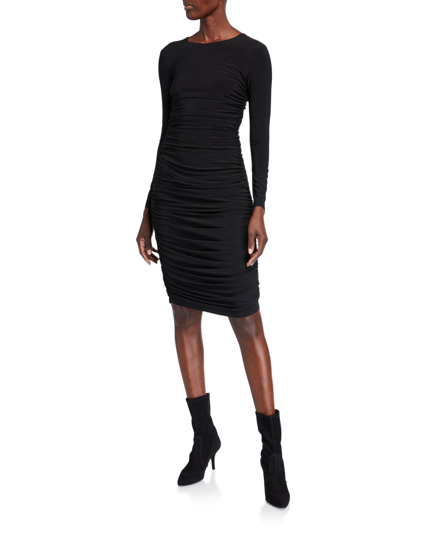 Norma Kamali Long-Sleeve Shirred Dress