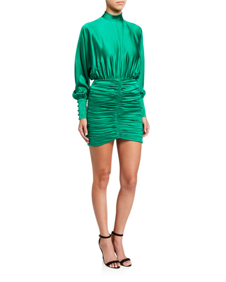 Image 1 of 2: Retrofete Barbara Ruched Satin High-Neck Dress