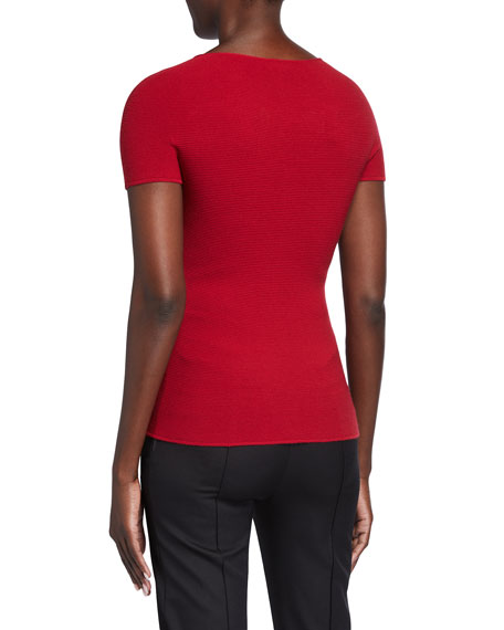 Image 2 of 2: Giorgio Armani Scoop-Neck Short-Sleeve Tee, Red