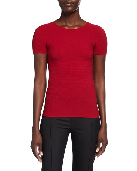 Image 1 of 2: Giorgio Armani Scoop-Neck Short-Sleeve Tee, Red