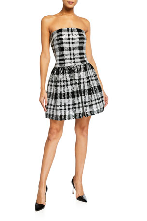 SHO Plaid Sequin Strapless Fit-&-Flare Dress