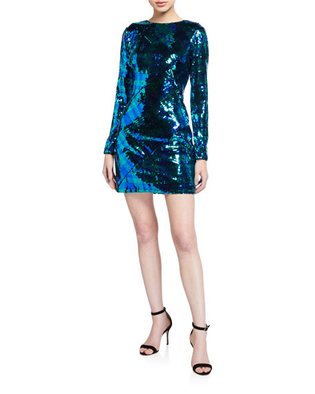 SHO Plaid Sequin Long-Sleeve Mini Dress