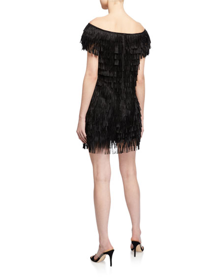 Image 2 of 2: SHO Off-the-Shoulder Mini Fringe Dress