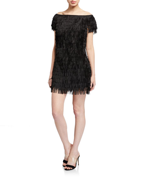 Image 1 of 2: SHO Off-the-Shoulder Mini Fringe Dress