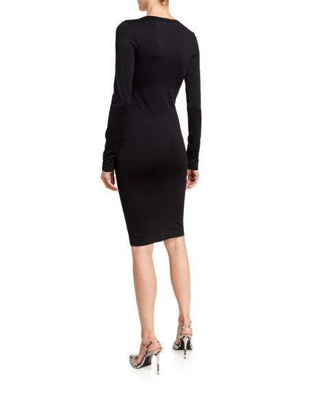 Helmut Lang Scoop-Neck Long-Sleeve Bodycon Dress