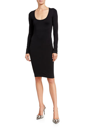 Helmut Lang Scoop-Neck Long-Sleeve Bodycon Dress