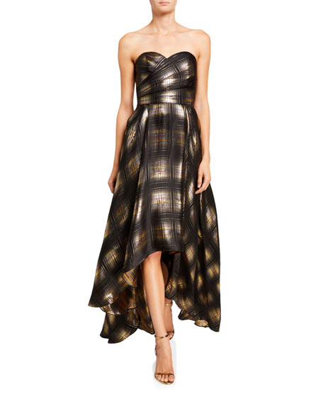 Image 1 of 2: Shoshanna Alleah Metallic Plaid High-Low Bustier Gown