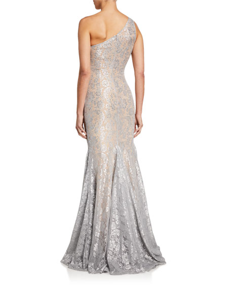 Jovani Stone Embellished One-Shoulder Metallic Lace Gown