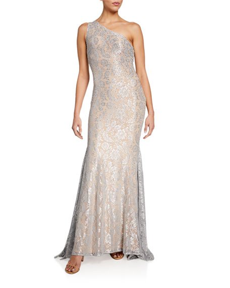 Image 1 of 2: Jovani Stone Embellished One-Shoulder Metallic Lace Gown