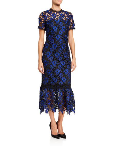 Shoshanna Talisa Pocantico Floral Lace Short-Sleeve Midi Dress