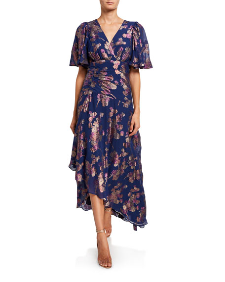 Shoshanna Minka Metallic Clipped Floral Short-Sleeve High-Low Dress
