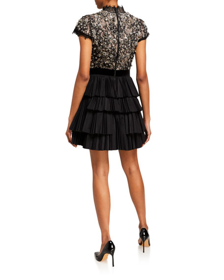 Alice + Olivia Dorian Embellished Mock-Neck Pleated Dress