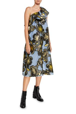 Stine Goya Olive One-Shoulder Embroidered Ruffle Dress