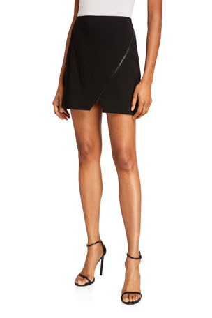 Alice + Olivia Barbra Asymmetrical Zip Mini Skirt