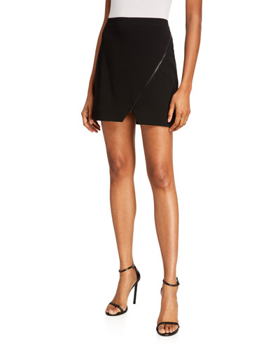 Barbra Asymmetrical Zip Mini Skirt