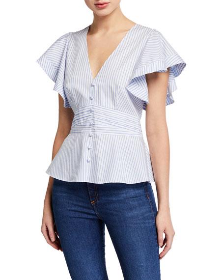 Veronica Beard Han Striped Flutter-Sleeve Button Top