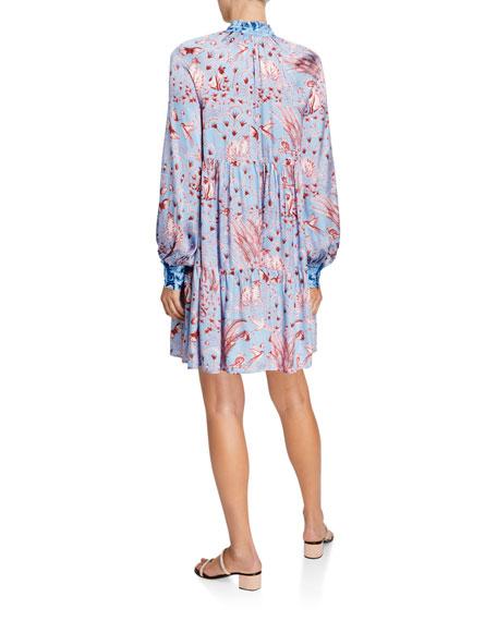 Stine Goya Jasmine Tiered Long-Sleeve Printed Dress