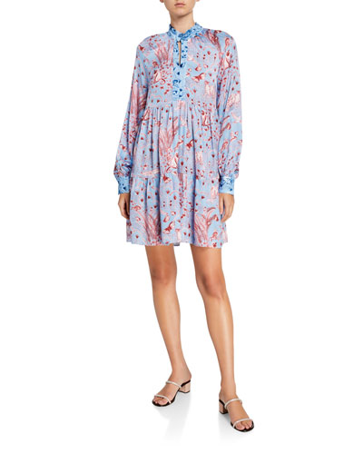 Jasmine Tiered Long-Sleeve Printed Dress