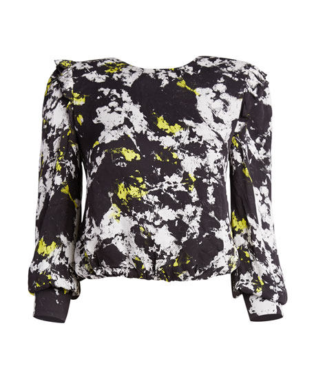 Alice + Olivia Jos Puff-Sleeve Cropped Blouse