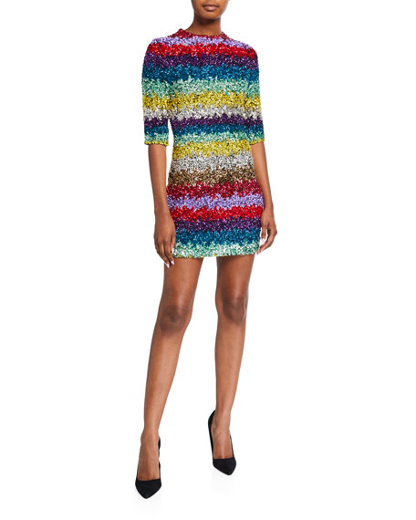 Alice + Olivia Inka Sequined Strong-Shoulder Mock-Neck Dress