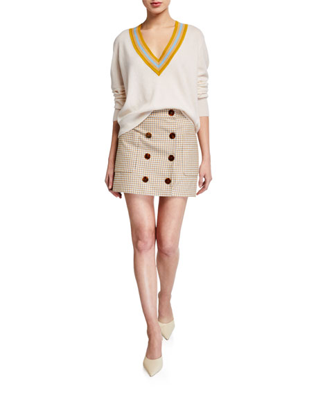 Image 3 of 3: Veronica Beard Lorraine Check Button-Front Skirt