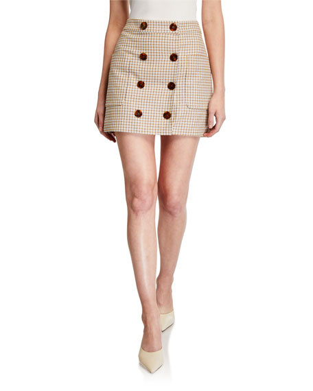 Image 1 of 3: Veronica Beard Lorraine Check Button-Front Skirt