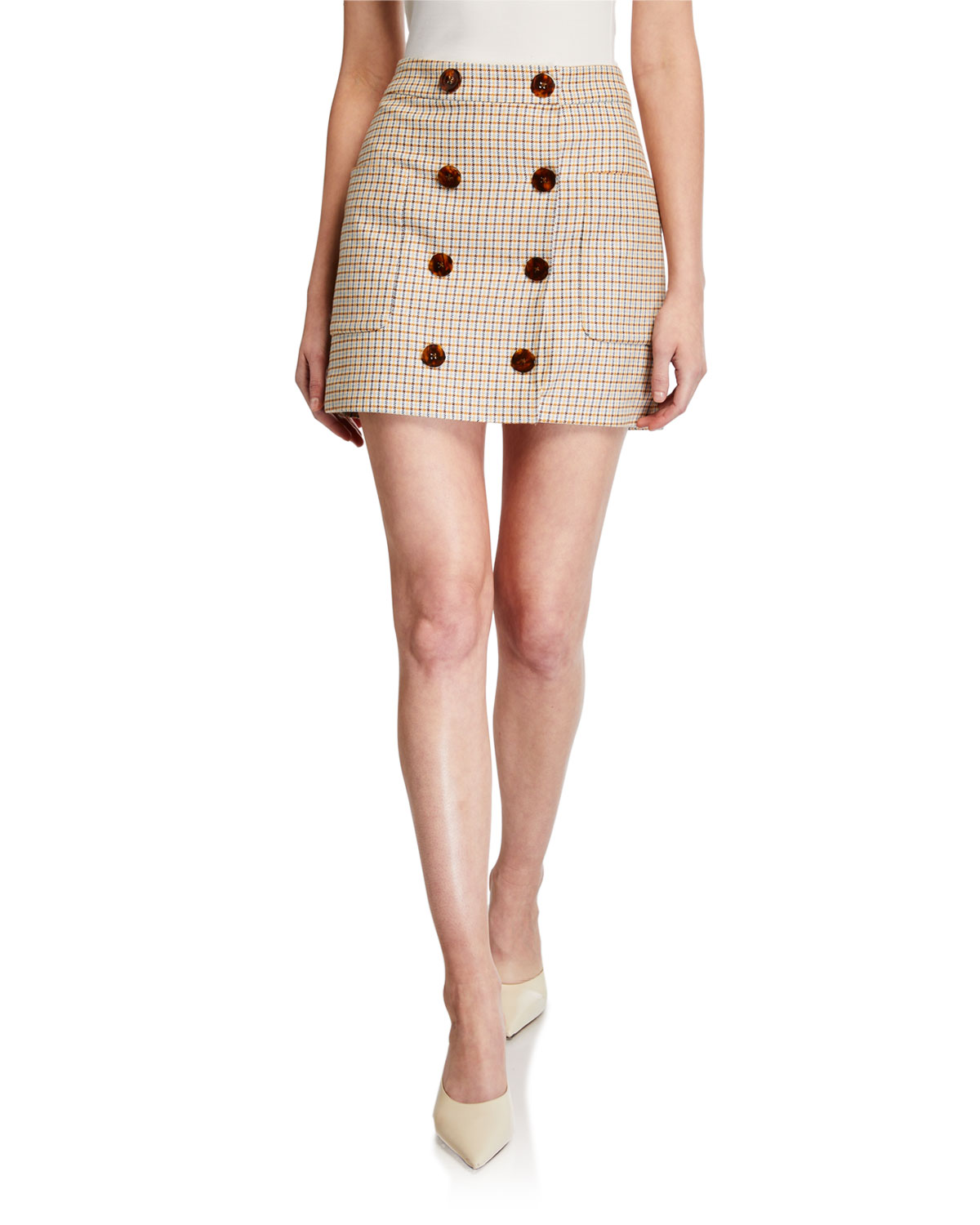 Lorraine Check Button Front Skirt by Veronica Beard