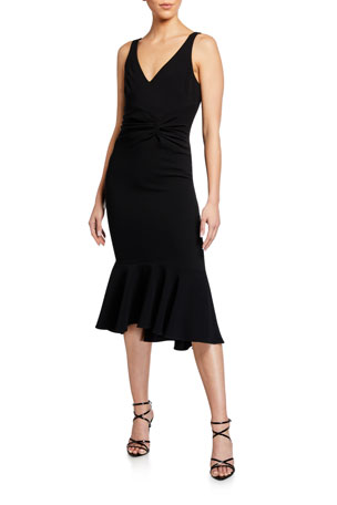 cinq a sept Adira Twisted Sleeveless Cocktail Dress