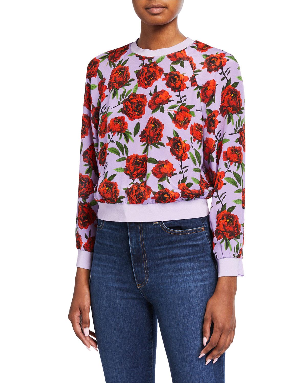 Alice + Olivia Calvin Raglan-Sleeve Sweatshirt in Roses Print
