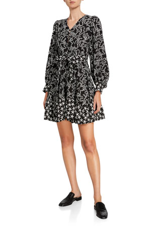 Stine Goya Farrow Belted Long-Sleeve Flounce Dress