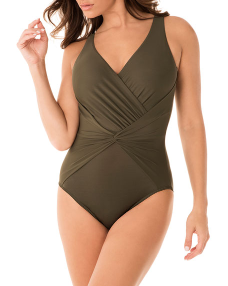 Image 2 of 3: Miraclesuit Rock Solid Twister One-Piece Swimsuit