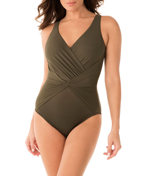 Image 1 of 3: Miraclesuit Rock Solid Twister One-Piece Swimsuit