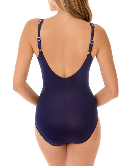 Miraclesuit Belmont Stripe Oceanus One-Piece Swimsuit