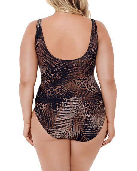 Miraclesuit Plus Size Tigris It's A Wrap One-Piece Swimsuit