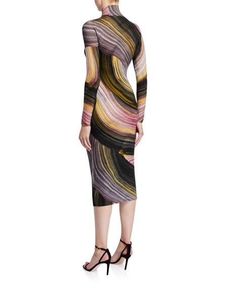 Diane von Furstenberg Nava Printed Wool Long-Sleeve Midi Dress