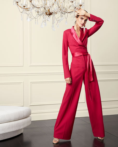 Image 2 of 3: Monica Long-Sleeve Crepe Wrap Jumpsuit