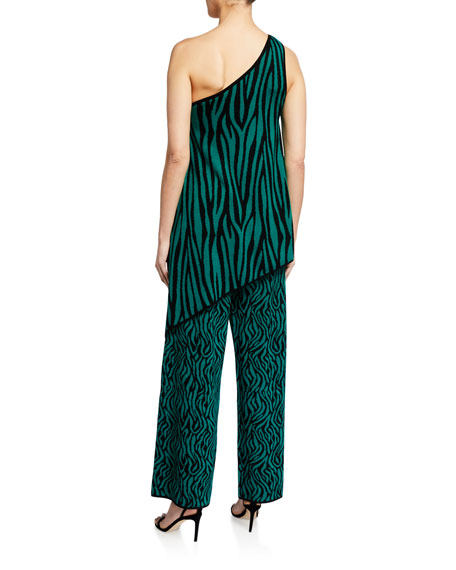 Image 2 of 2: Victor Glemaud One-Shoulder Zebra-Print Jumpsuit with Overlay