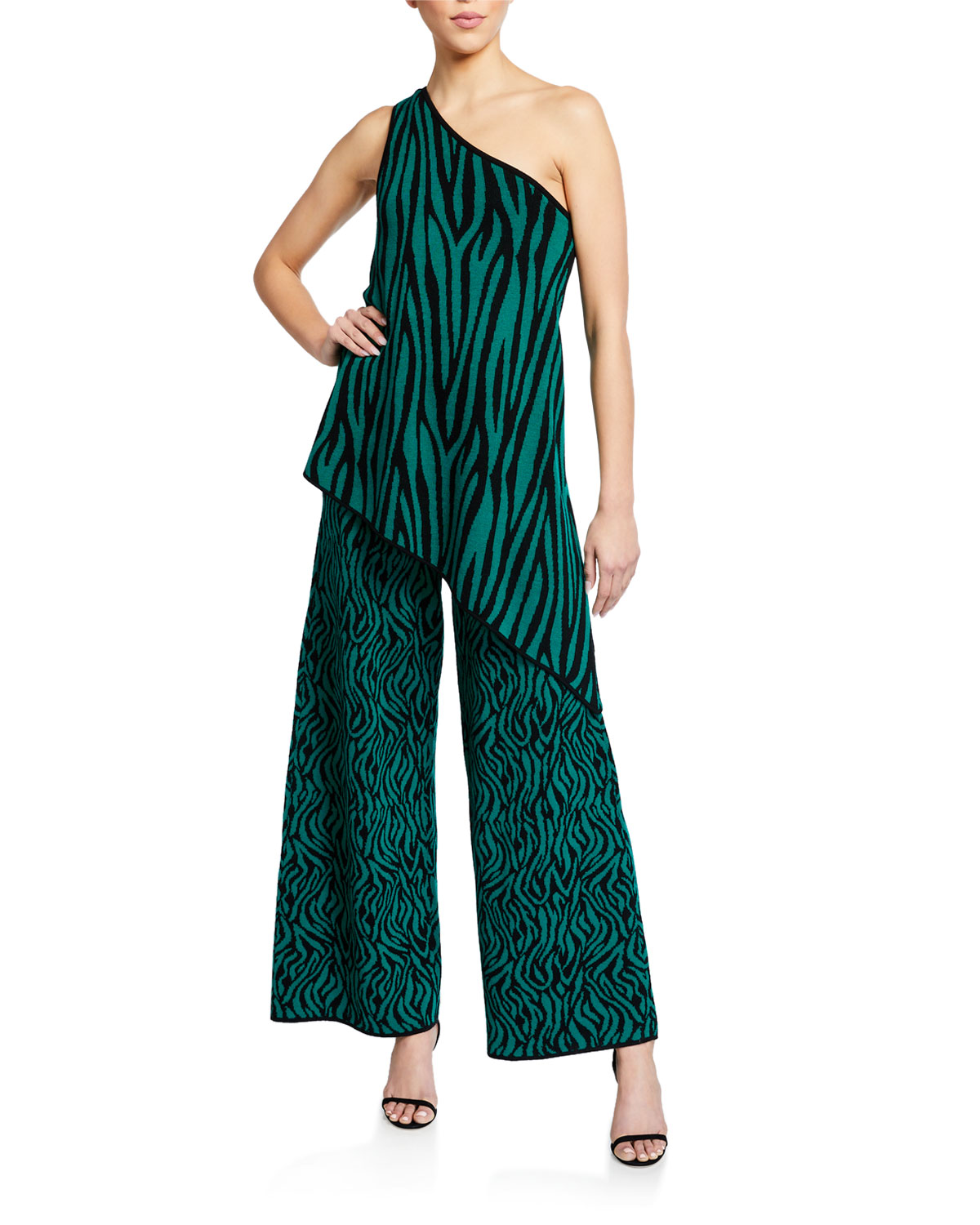 Victor Glemaud One-Shoulder Zebra-Print Jumpsuit with Overlay
