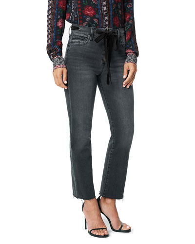 The Callie High-Rise Crop Boot-Cut Jeans with Waist Ties