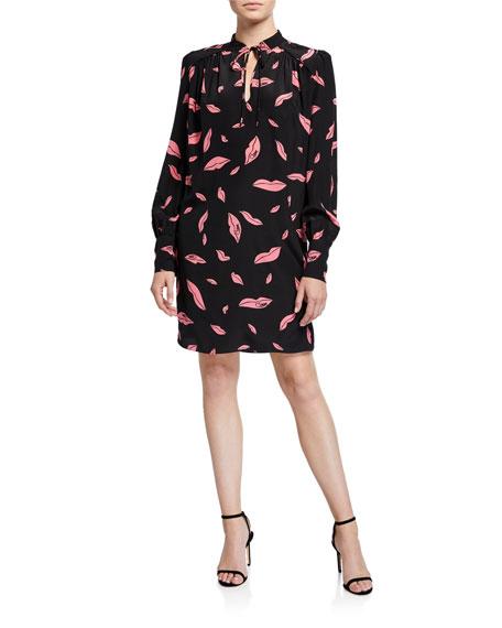 Diane von Furstenberg Glenda Silk Lip-Print Shirt Dress