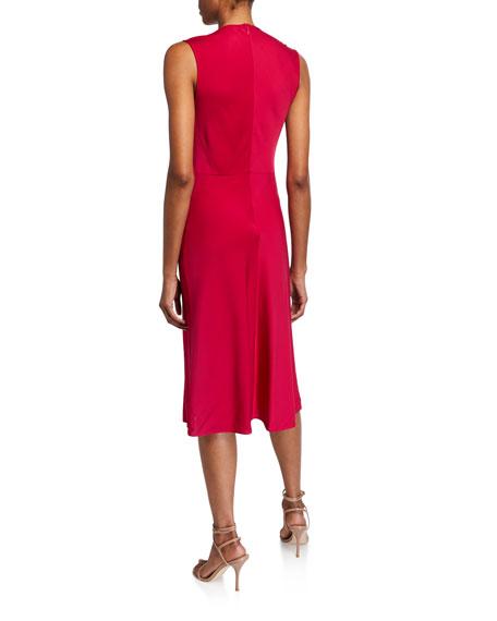 Diane von Furstenberg Katrita Draped Sleeveless Midi Cocktail Dress