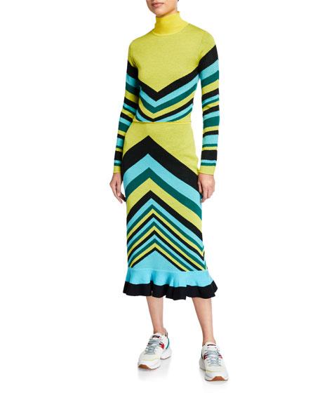 Victor Glemaud Chevron Stripe Wool Flounce Skirt
