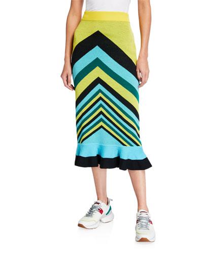 Chevron Stripe Wool Flounce Skirt
