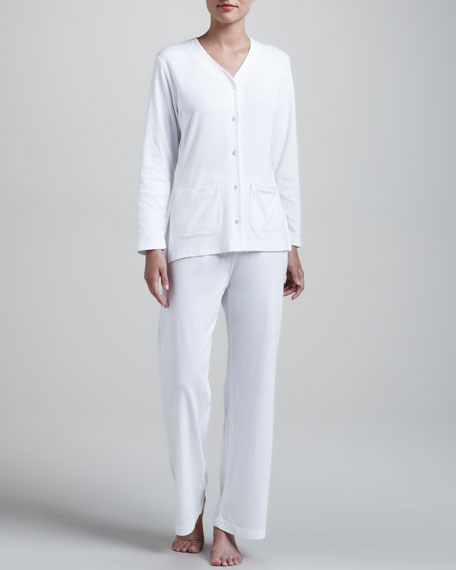 P. Jamas Butter Knit Pajamas, White